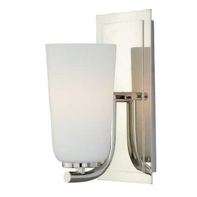 Napa 1 Light Nickel Bathroom Wall Fixture - 4.5-in W x 10-in H x 5.5-in D