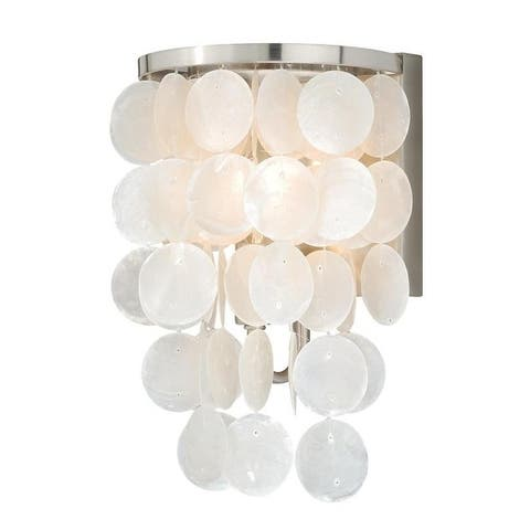 Elsa 1 Light Satin Nickel Capiz Shell Coastal Bathroom Wall Fixture - 6.5-in W x 10.75-in H x 5.5-in D