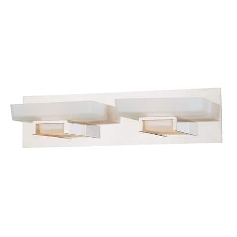 Gatsby 2 Light Nickel Bathroom Vanity Fixture - 19.25-in W x 5-in H x 5-in D