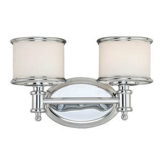 Link to Carlisle 2 Light Chrome Bathroom Vanity Fixture - 13.75-in W x 8-in H x 7.5-in D Similar Items in Bathroom Vanity Lights