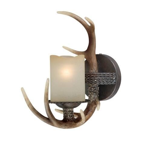 Yoho 1 Light Bronze Rustic Antler Bathroom Wall Fixture - 5.5-in W x 13-in H x 11-in D