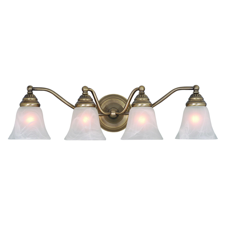 Shop Black Friday Deals On Standford 4 Light Brass Bathroom Vanity Fixture 26 In W X 7 In H X 7 In D Overstock 20907575