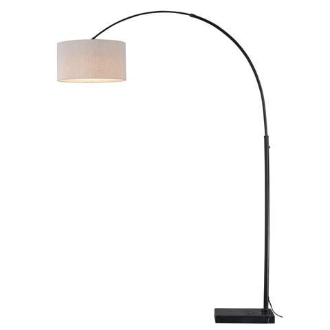 Luna LED Bronze Motion Sensor Arc Floor Lamp Beige Linen Drum Shade - 18.25-in W x 84-in H x 46-56.5-in D