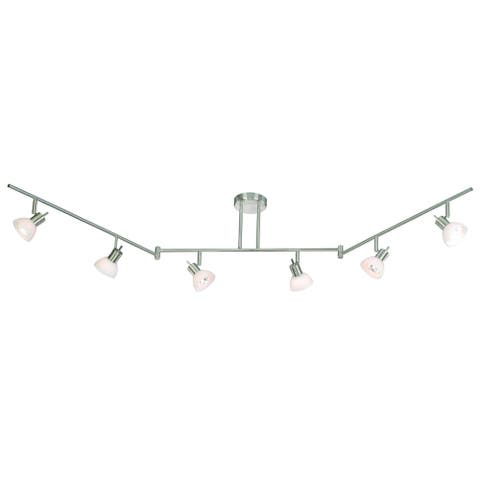 Como 6 Light Brushed Nickel Swing Arm Ceiling Spot Light White Glass - 72-in W x 12-in H x 5.5-in D