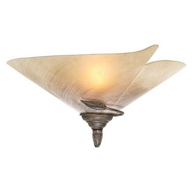 Capri 1 Light Bronze Rustic Vine Half Moon Wall Sconce Beige Glass - 16.5-in W x 8.5-in H x 9-in D
