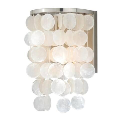 Elsa 1 Light Satin Nickel Capiz Shell Coastal Bathroom Wall Fixture - 8-in W x 12.75-in H x 6.5-in D