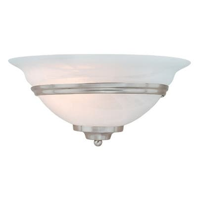 Da Vinci 1 Light Brushed Nickel Half Moon Wall Sconce White Glass - 12-in W x 6-in H x 6.25-in D