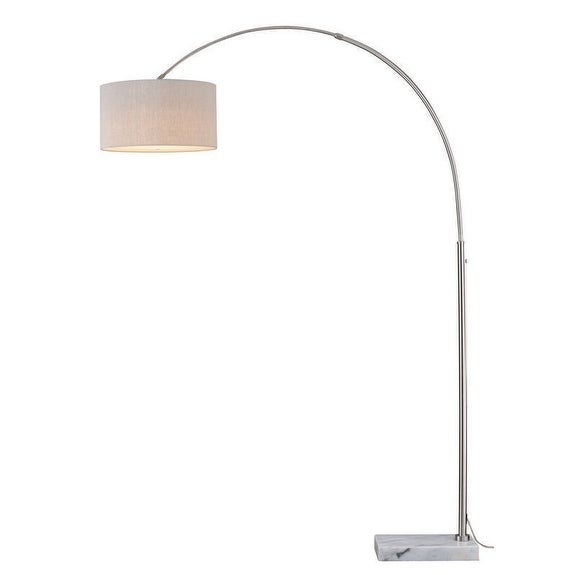Luna Instalux® LED Arc Lamp Satin Nickel with Brown Linen Shade