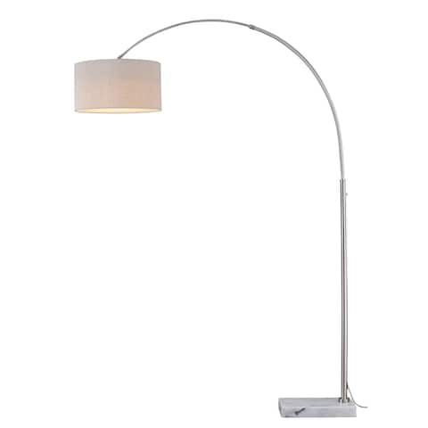 Luna Instalux® LED Arc Lamp Satin Nickel with Brown Linen Shade - 18.25-in W x 84-in H x 46-56.5-in D