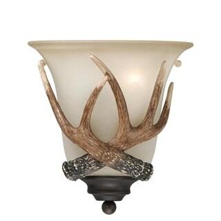 Yoho 1 Light Bronze Rustic Antler Flush Wall Sconce Cream Glass - 9-in W x 10-in H x 5.5-in D