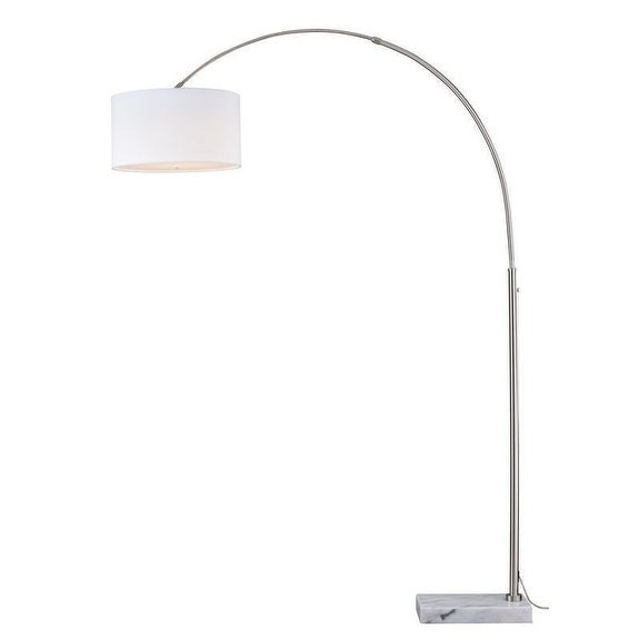 Luna Instalux® LED Arc Lamp Satin Nickel with Cream Linen Shade