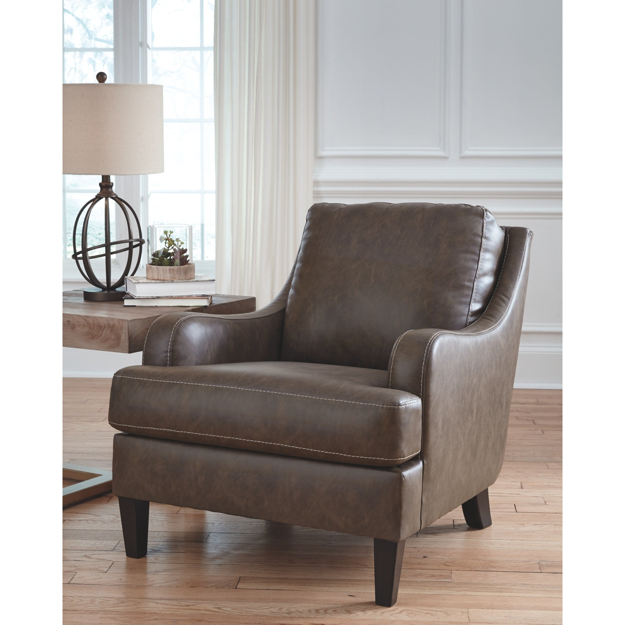 Pleasant Tirolo Casual Brown Faux Leather Accent Chair Ocoug Best Dining Table And Chair Ideas Images Ocougorg