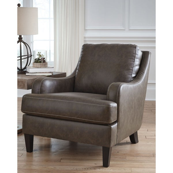 Shop Tirolo Casual Brown Faux Leather Accent Chair Free