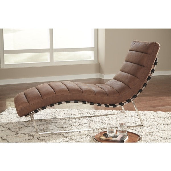 Shop Elestra Contemporary Brown Chaise Lounge Accent Chair