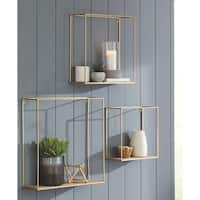 Efharis Goldtone Metal and Natural Wood 3-piece Wall Shelf Set