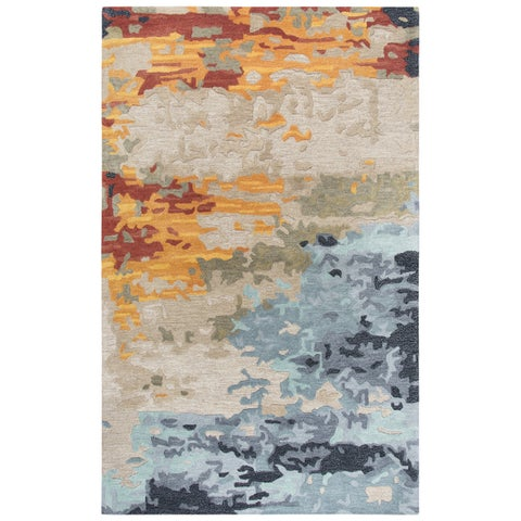 "Mod Tan Abstract Shag 18"" X 18"" Area Rug"
