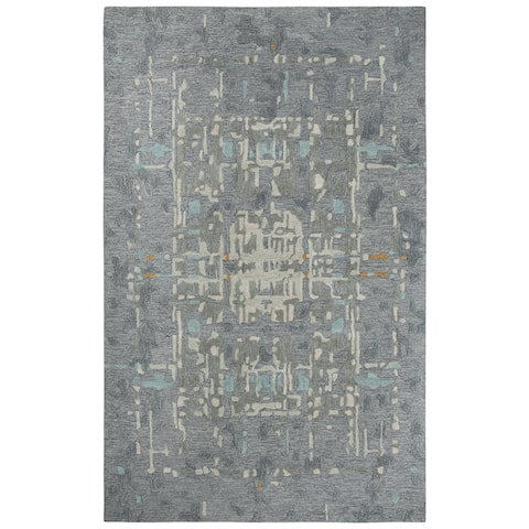"Mod Gray Abstract Shag Area Rug - 18"" x 18"""