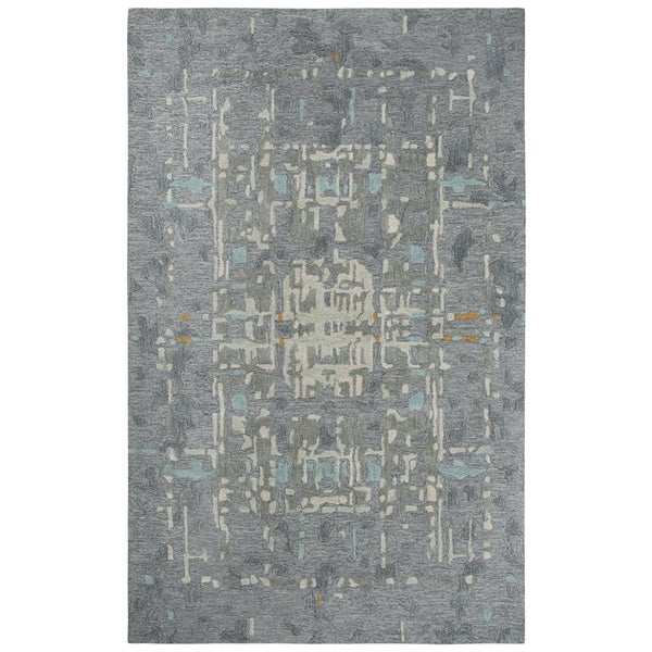"""Mod Gray Abstract Shag Area Rug - 18"""" x 18"""". Opens flyout."""