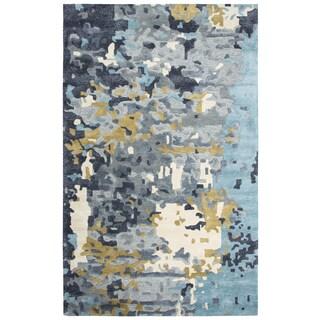 """Porch & Den Junco Grey Abstract Shag Area Rug - 18"""" x 18"""""""