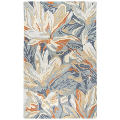 "Porch & Den Juniper Blue Abstract Floral Shag Area Rug - 18"" x 18"""