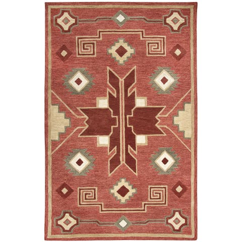 "Mesa Red Southwest/Tribal Shag Area Rug - 18"" x 18"""