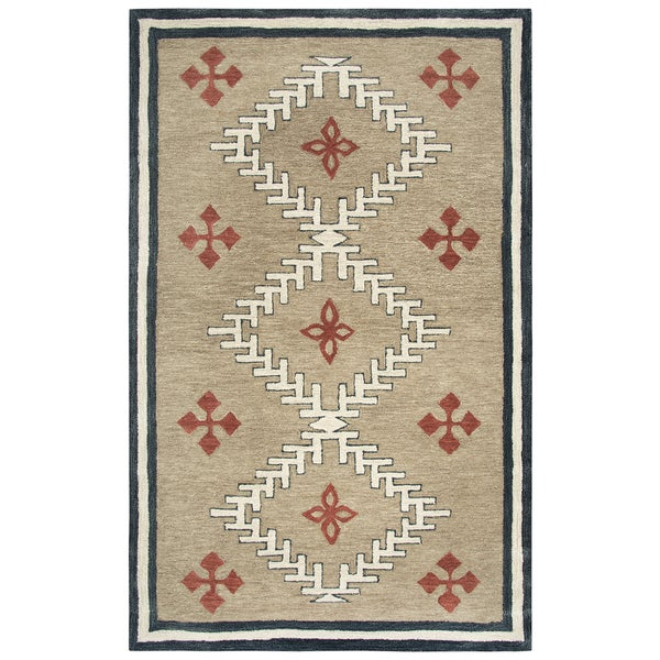 """Mesa Brown Southwest/Tribal Shag Area Rug - 18"""" x 18"""". Opens flyout."""