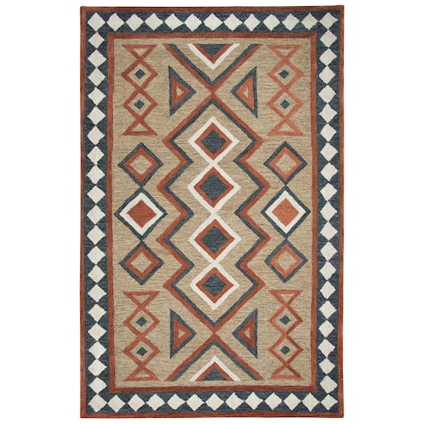 "Mesa Brown Southwest/Tribal Shag Area Rug - 18"" x 18"""