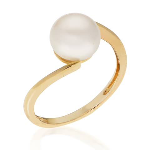 PearLustre by Imperial 10KY White Freshwater Button Pearl Ring