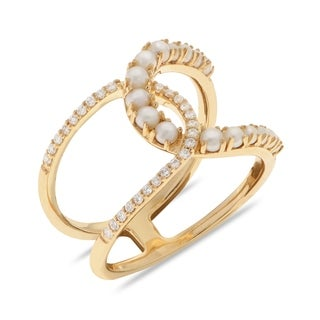 PearLustre by Imperial 14KY FW Seed Pearl and Diamond Double Horseshoe Ring