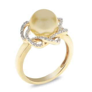 PearLustre by Imperial 14KY Golden South Sea and Diamond Ring
