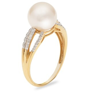 PearLustre by Imperial 14KY White Freshwater Pearl and Diamond Ring