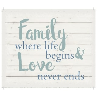 "Family where life begins & love never ends - White background 10"" x 12"" - 10 x 12"