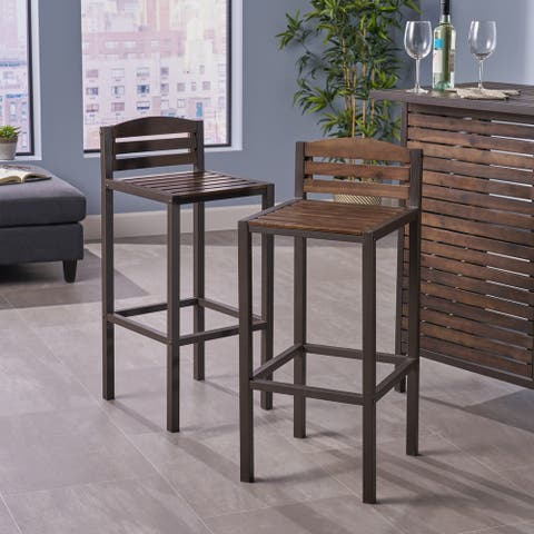 Lilith Acacia Wood Barstool (Set of 2) by Christopher Knight Home
