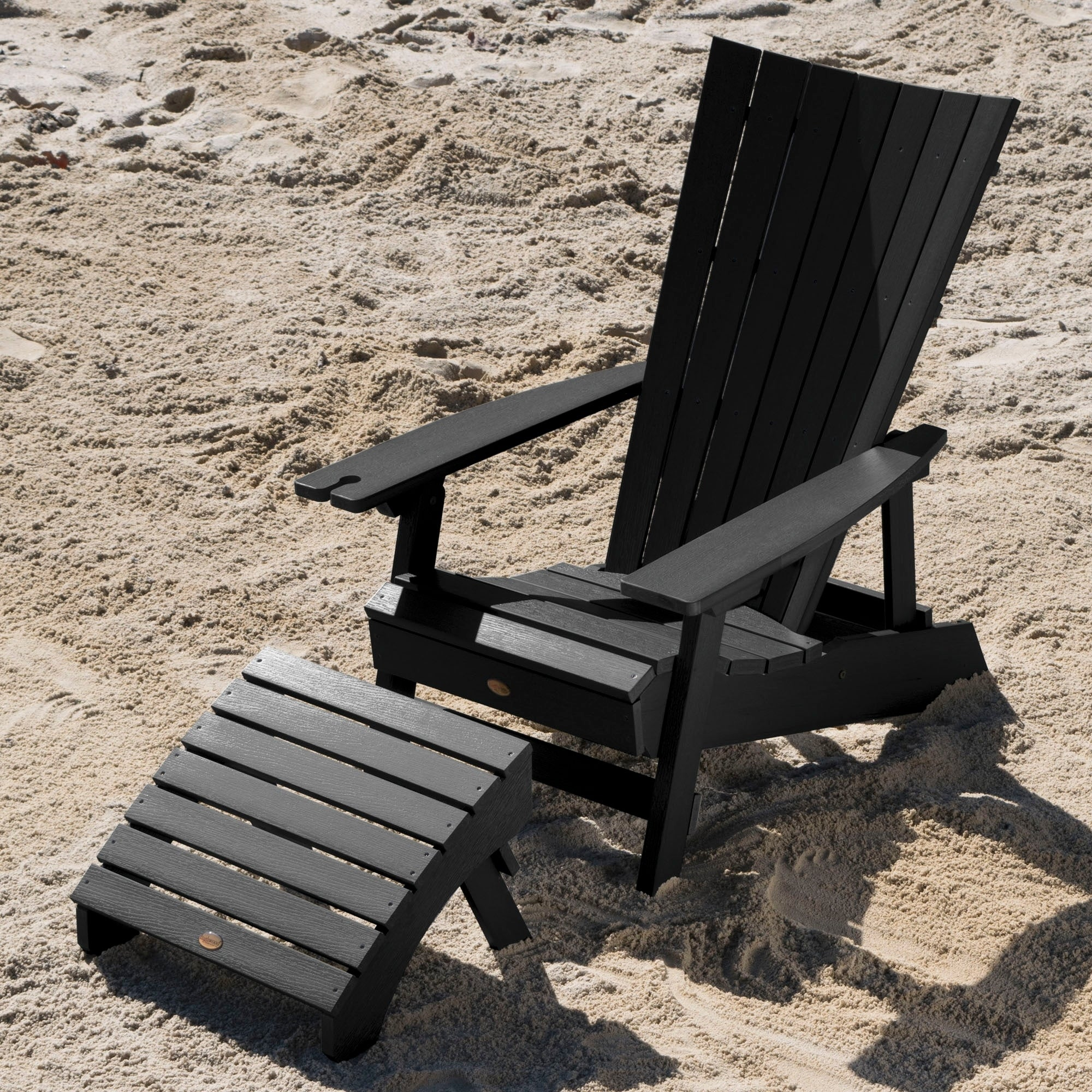 Manhattan Beach Adirondack Chair W Wine Holder Folding Ottoman