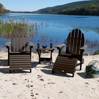 2 Essential Adirondack Chairs, Folding Side Table, 2 Folding Ottomans