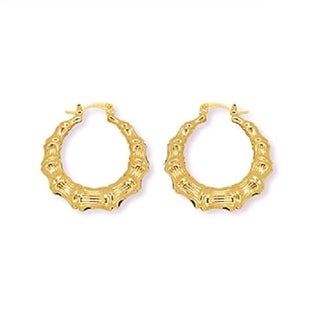 Gold Plated Gold Bamboo Hoop Earring
