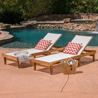 Summerland Outdoor Mesh and Wood Chaise Lounge (Set of 2) Christopher Knight Home