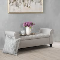 Keiko Tufted Fabric Armed Storage Ottoman Bench in Light Grey by Christopher Knight Home (As Is Item)