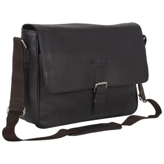 Link to Ben Sherman Full Grain Karino Leather 15-inch Laptop Anti-Theft RFID Crossbody Messenger Bag (Brown or Black) Similar Items in Messenger Bags