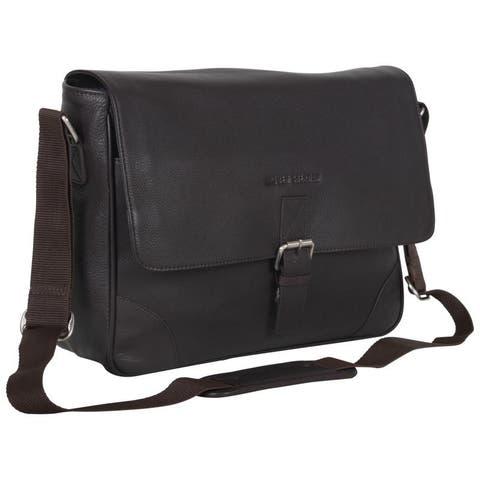 Ben Sherman Full Grain Karino Leather 15-inch Laptop Anti-Theft RFID Crossbody Messenger Bag (Brown or Black)