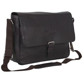 Ben Sherman Full Grain Karino Leather 15-inch Laptop Anti-Theft RFID Crossbody Messenger Bag