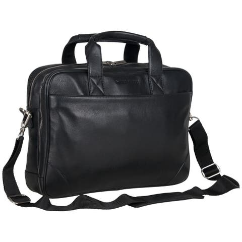 Ben Sherman Full Grain Karino Leather Anti-Theft RFID 15-inch Laptop Business Briefcase (Brown Or Black)