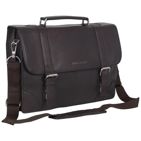 Ben Sherman Karino Anti-Theft RFID Leather Dual Compartment Flapover 15-inch Laptop Messenger Briefcase
