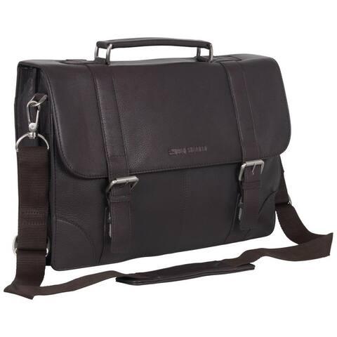 Ben Sherman Full Grain Karino Leather Flapover 15-inch Laptop Anti-Theft RFID Business Briefcase Portfolio (Brown or Black)