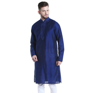 Shatranj Men's Indian Classic Collar Long Kurta Tunic with Embroidered Placket (2 options available)