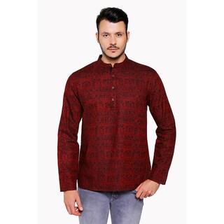 Shatranj Men's Banded Collar Artisan Warli Print Henley Style Sleek Kurta Tunic (More options available)