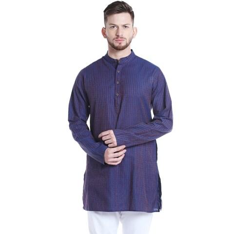 Shatranj Men's Indian Mandarin Collar Mid-Length Fine Stripe Kurta Tunic