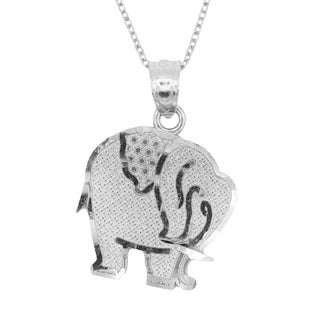 925 Sterling Silver Elephant Animal Good Luck Pendant Necklace (More options available)
