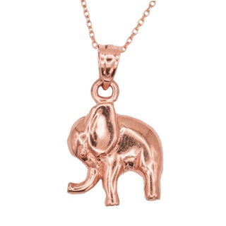 14k Yellow Gold Elephant Animal Good Luck Pendant Necklace (More options available)