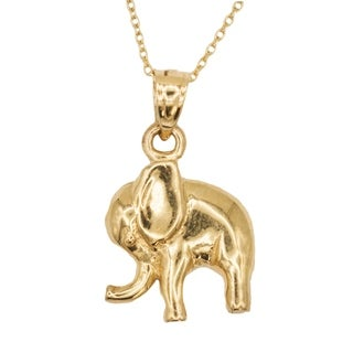 14k Yellow Gold Elephant Animal Good Luck Pendant Necklace
